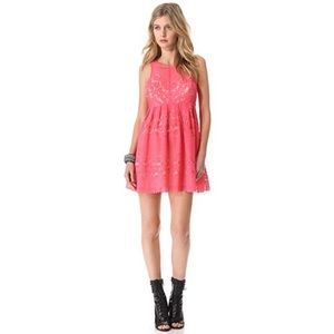Free People Pink Rocco Lace Cutout Dress